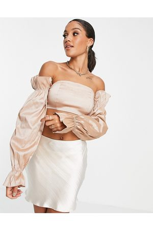 Rare Fashion London off shoulder top with taffeta sleeve detail co ord in taupe-Brown