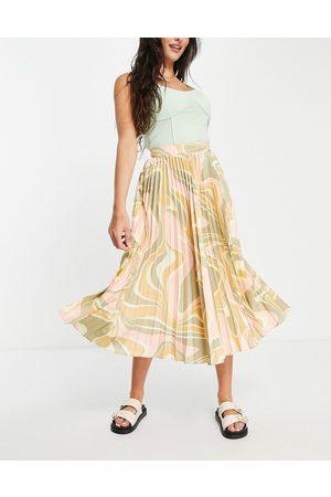 ASOS Satin pleated midi skirt in 70s swirl print-Multi