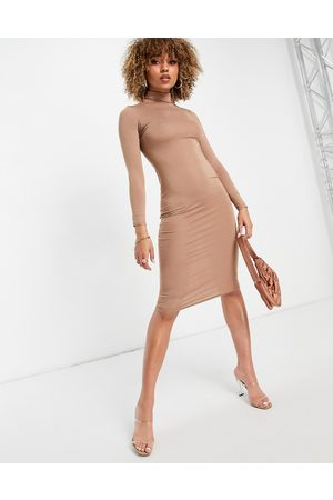 I saw it first Jersey midi high neck bodycon dress in camel-Neutral