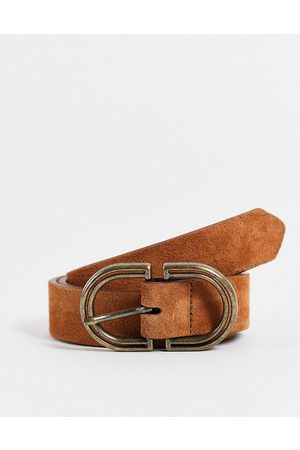 ASOS Ženy Pásky - Suede waist and hip jeans belt in tan in brown