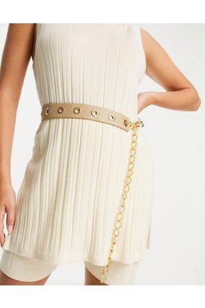 ASOS Waist belt with eyelet and chain detail in beige-Neutral
