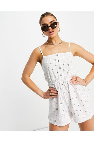 ASOS Broderie button front cami playsuit in white