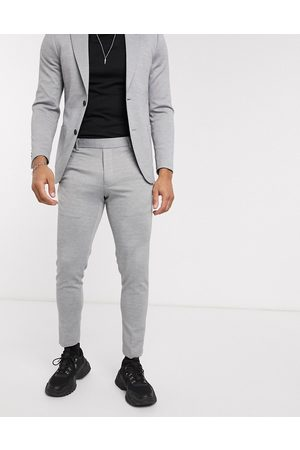 Only & Sons Slim fit soft deconstructed suit trousers in grey