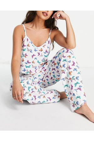 Wednesday's Girl Cami and trousers pyjama set in butterfly print-White