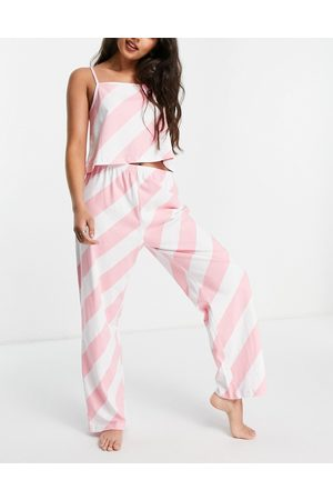 Wednesday's Girl Cami and trousers pyjama set in candy stripe-Pink