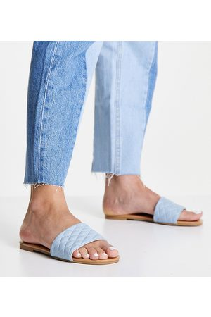 New Look Wide Fit Quilted mule in light blue