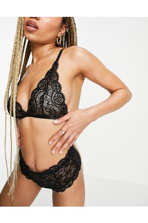 Love & Other Things Ženy Bralety - Triangle bra with lace back briefs in black