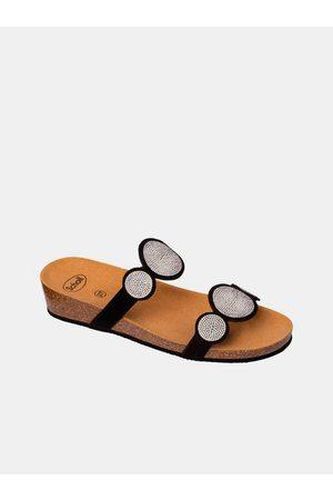 Scholl Ženy Pantofle - Černé dámské pantofle Sharon