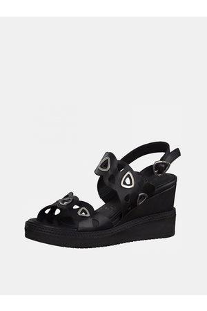 Tamaris Černé kožené sandálky na klínku