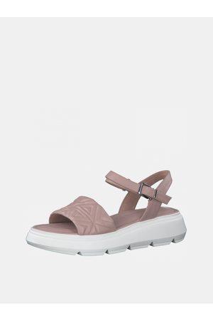Tamaris Ženy S otevřenou špičkou - Starorůžové kožené vzorované sandály na platformě