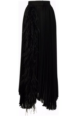 Styland Feather-trim pleated maxi skirt