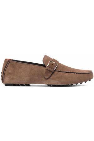 santoni Buckled suede loafers