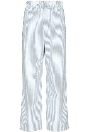 Tekla Striped drawstring poplin pajama trousers