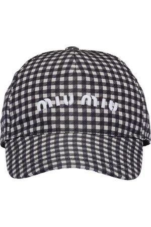 Miu Miu Gingham-pattern logo-print cap