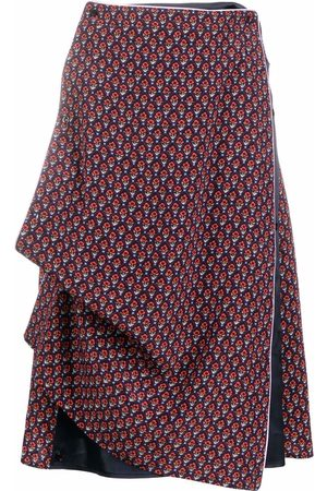 Y / PROJECT Floral-print draped skirt