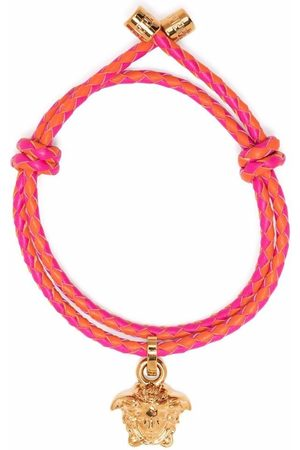 VERSACE Medusa head charm braided bracelet