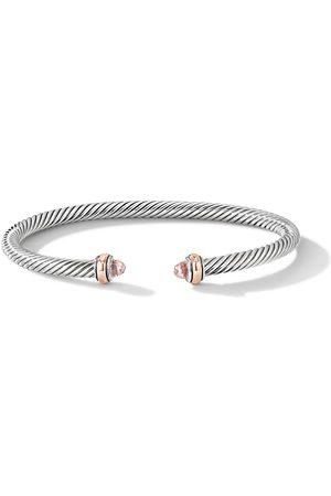 David Yurman Sterling silver and 18kt rose gold 4mm Cable morganite bracelet