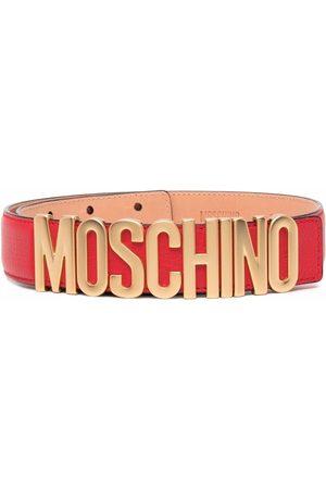 Moschino Ženy Pásky - Logo-plaque leather belt