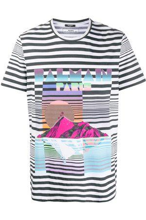 Balmain Striped island motif T-shirt