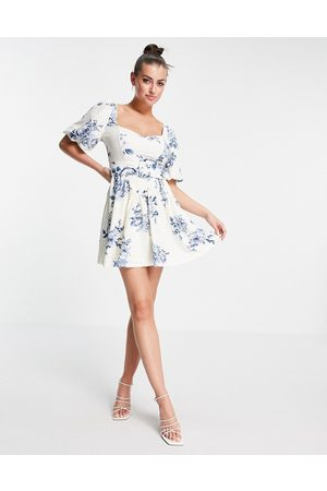 ASOS Broderie puff sleeve corset belted skater mini dress in floral print-Multi