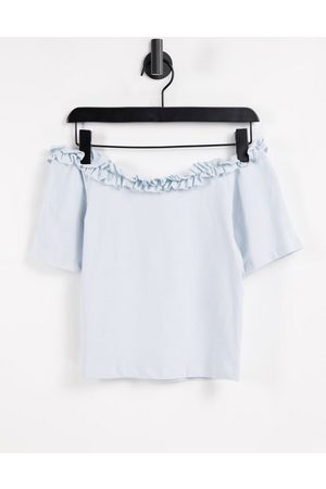 Pieces Off the shoulder t-shirt with frill neckline in pastel blue
