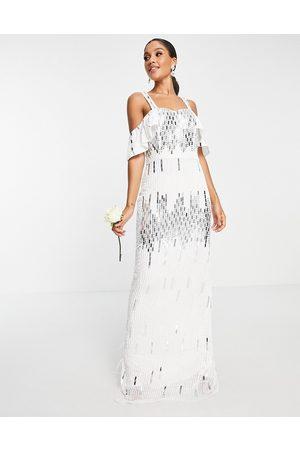 Virgos Lounge Ženy Maxi - Bridal embellished cold shoulder dress in white