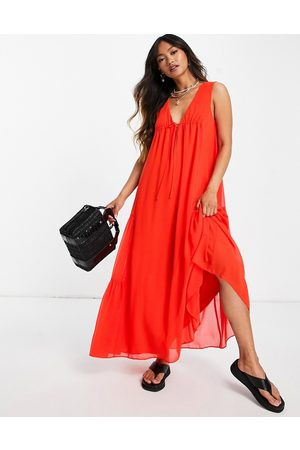 ASOS Ženy Maxi - Sleeveless trapeze maxi dress with tie detail and side tiers-Orange