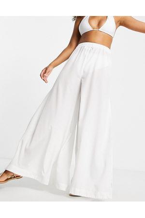 ASOS Wide leg beach trouser in white