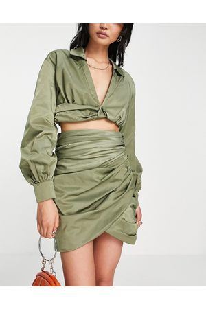 ASOS Co ord ruched wrap mini skirt-Green