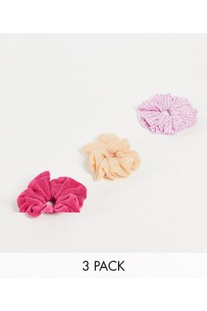 ASOS Pack of 3 scrunchies in mixed fabrics-Pink