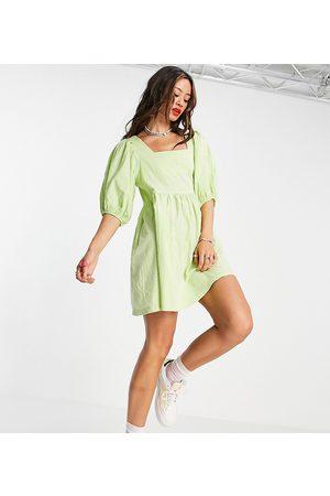 COLLUSION Seersucker mini smock dress in green