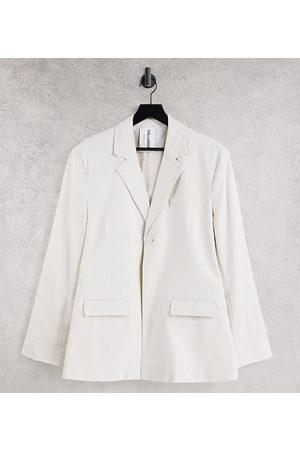 COLLUSION Unisex oversized blazer in off white
