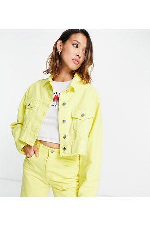 Reclaimed Inspired crop denim jacket in yellow