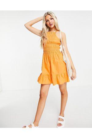 Influence Shirred beach dress in orange