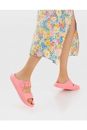Stradivarius Ženy Sandály - Double strap buckle sandal in pink