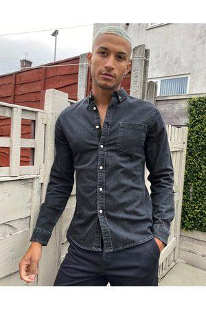 ASOS DESIGN Stretch slim organic denim shirt in washed black-Grey