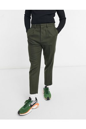 ASOS Muži Chino - Tapered wool mix smart trouser in olive-Green