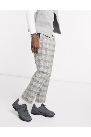 ASOS Tapered smart trouser in stone check