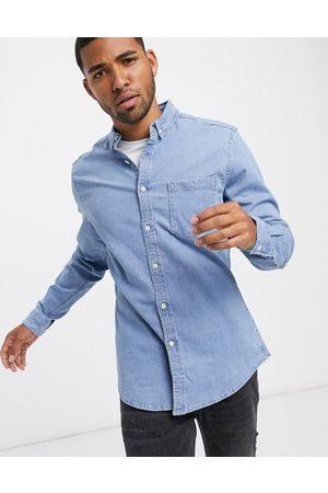 ASOS Stretch slim organic denim shirt in bleach wash-Blue