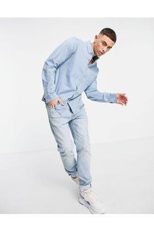 ASOS Slim organic denim shirt in light wash-Blue