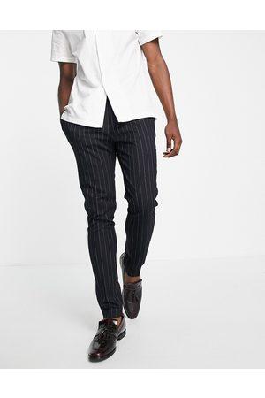 ASOS Tapered smart trouser in navy stripe
