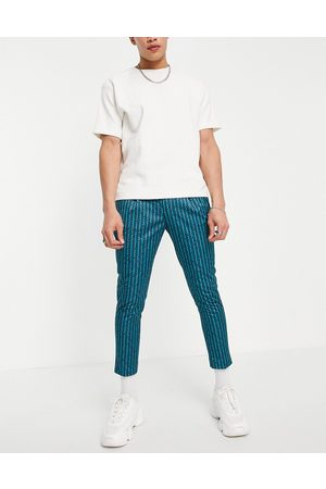 ASOS Muži Chino - Co-ord smart tapered trousers with retro stripe in blue