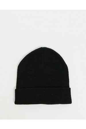ASOS Recycled polyester blend deep turn up beanie hat in black