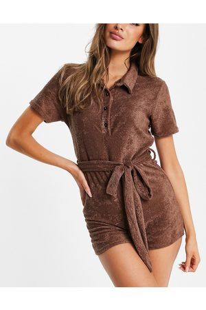 Missguided Towelling playsuit with collar in brown