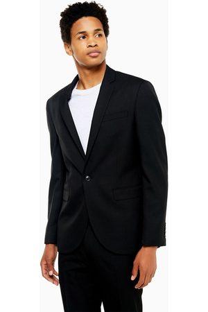 Topman Slim fit textured suit jacket with notch lapels in black