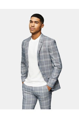 Topman Check skinny fit suit jacket with notch lapels in grey-Stone