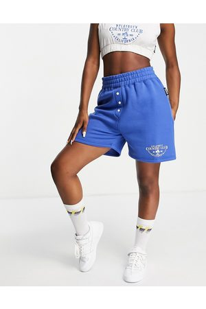 Missguided Playboy Sports co-ord runner short in blue-Navy