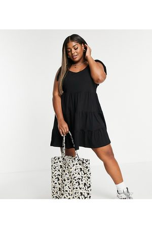 Yours Tiered dress with ties in black