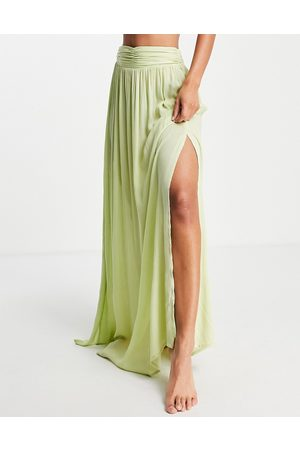 ASOS Maxi beach sarong co-ord in soft chartreuse-Yellow