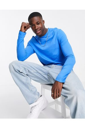 ASOS Organic long sleeve t-shirt with crew neck in blue
